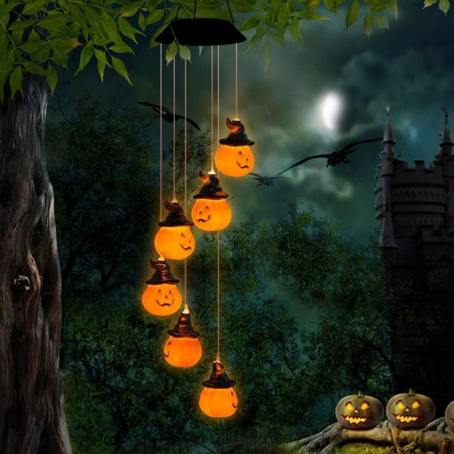 🎃Hot Sales🎃--Solar Pumpkin/Skull/Ghost Wind Chime Light