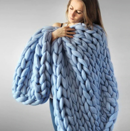 Hand Knit Chunky Knitted Blanket