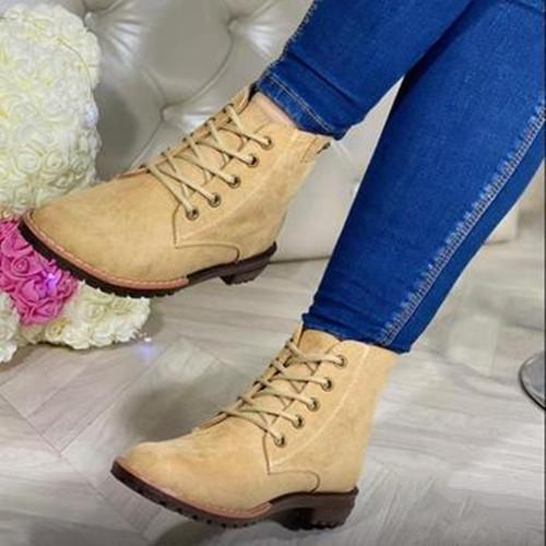 Women Suede Lace Ankle Boots