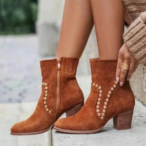 Faux Suede Rivet Dress Boots