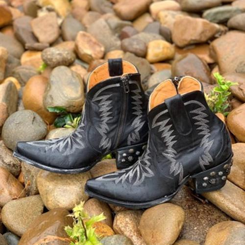 Black Pointed Anke Boots