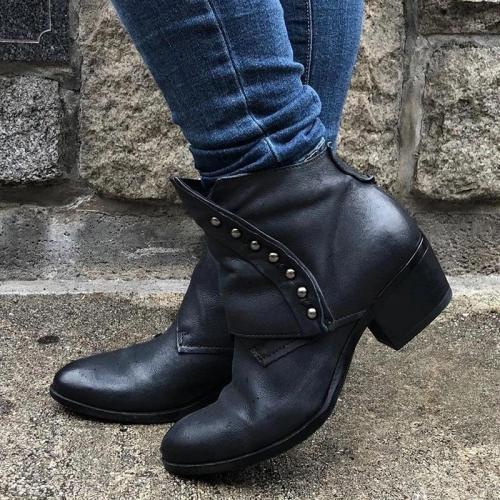 Women's Trendy Vintage Side Zipper Leather Booties