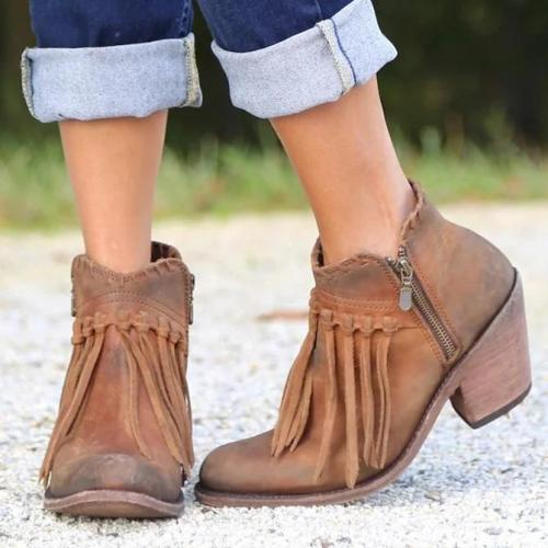 Artificial Leather Seaside Block Heel Boots