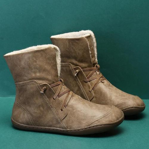 Solid Color Warm Plush Lining Comfortable Elastic Band Mid Calf Winter Snow Boots
