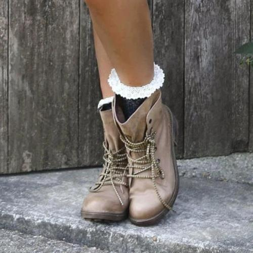 Fall Lace-Up Block Heel Boots