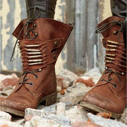 Buckle Winter Low Heel Boots