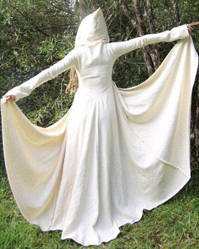 Women Vintage Solid Color Lace Maxi Dress
