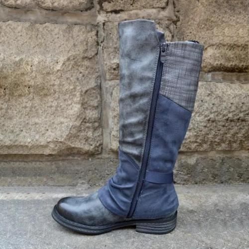 Blue Leather Daily Boots