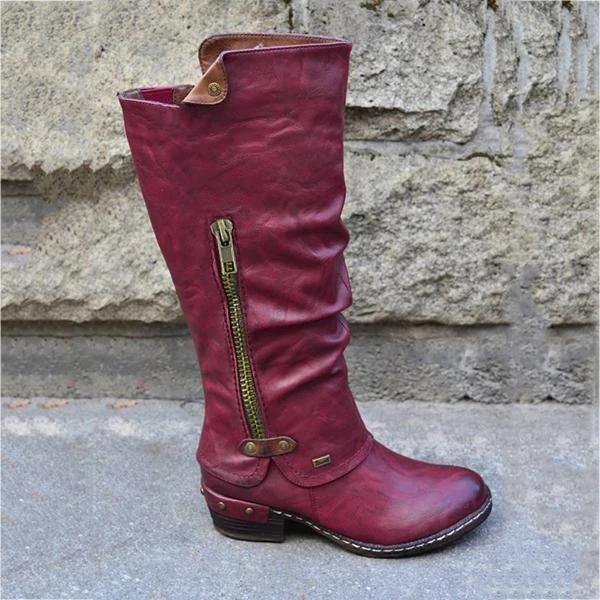 Women's Vintage Mid Calf Credit Card Money Wallet Pocket Boots