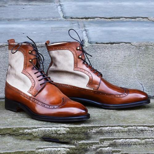Canvas Panel Leather Men's Boots