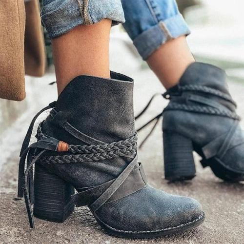 Women Trendy Tassel Braided Strap Irregular Design Slip On Chunky Heel Boots
