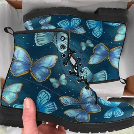 Butterfly Print Pu Winter Boots