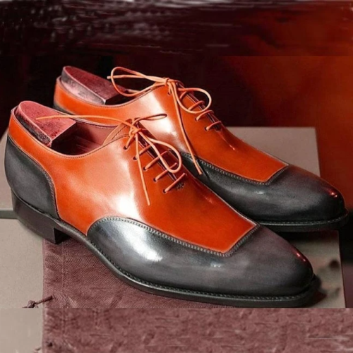 Handmade Color Block Lace-Up Men's Dress Shoes