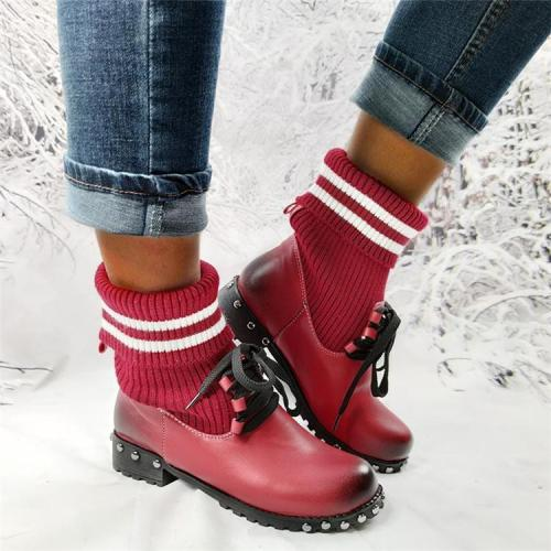 Women's Striped Knit Stitching Convertible Sweater Boots