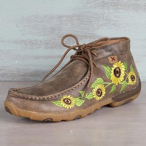 Brown Winter Daily Microfiber Leather Embroidery Boots
