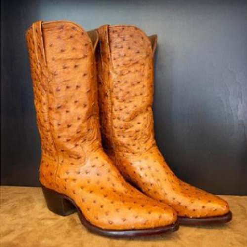 Women's Ostrich Leather Cowboy Ankle Boots