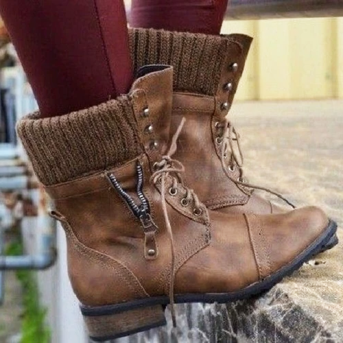 Women's Retro Casual All-Match Lace-Up Knitted Stitching Soft Short Boots