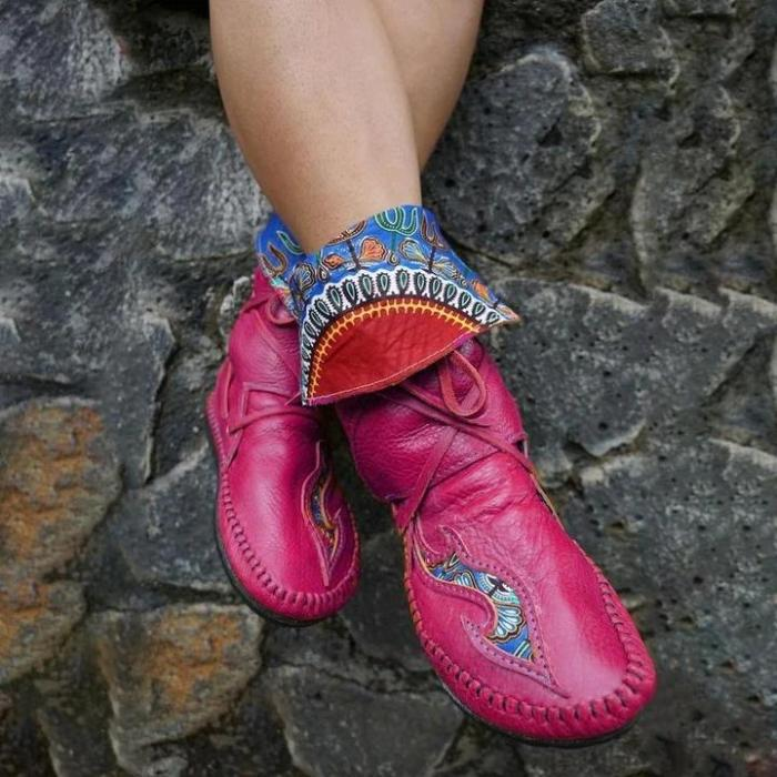 Women's Vintage Pattern Leather Lace-Up Soft Flat Boots