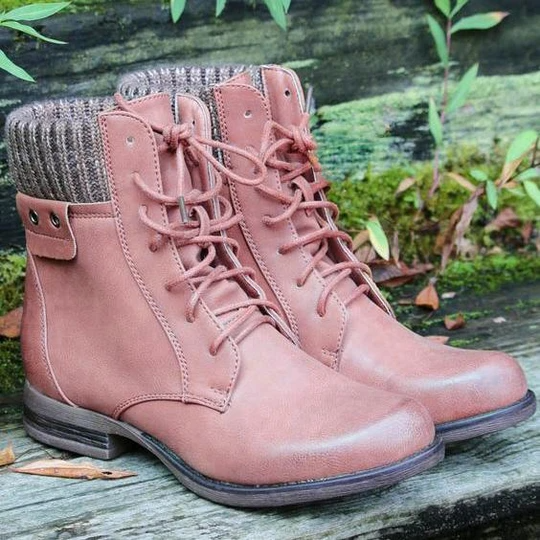 Women's Retro Fashion Casual All-Match Knitted Stitching Non-Slip Short Boots