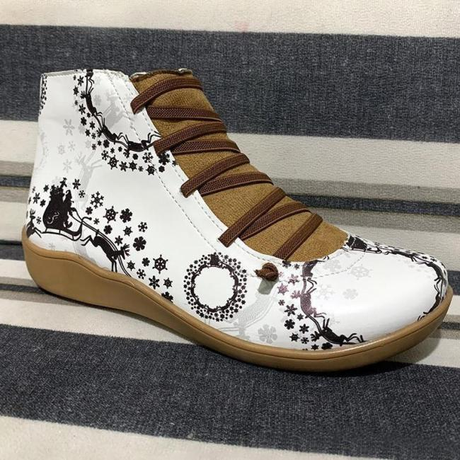 >>Christmas Gift   Side Zipper Ankle Boots Elastic Strap Printed Boot