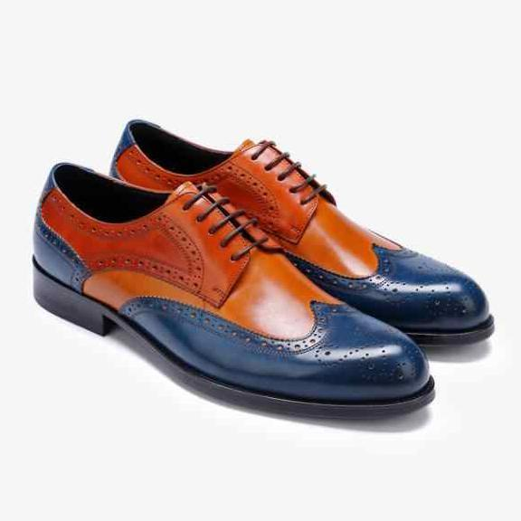 Handmade Men Multi Colors Brogues Toe Wing Tip Oxford Leather Shoes