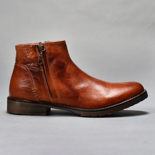 Men High Quality Winter Cowboy Leather Short Boots