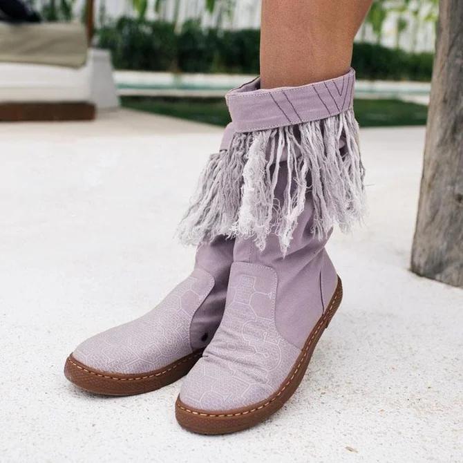 Canvas Flat Heel Boots