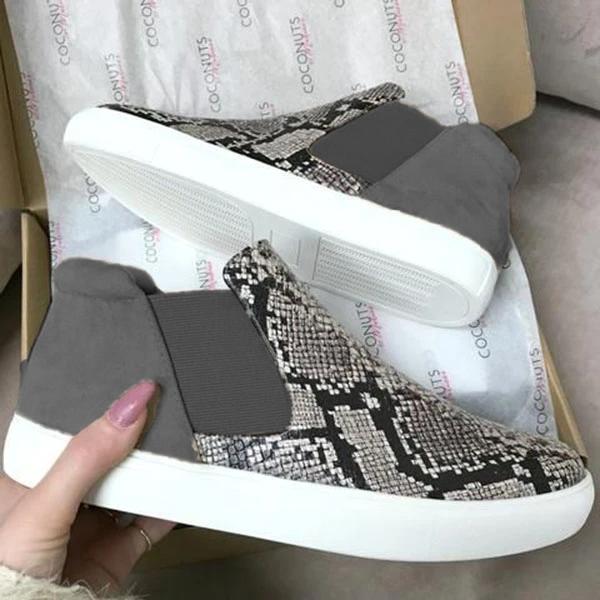 Snakeskin Leopard Comfortable Slip-Up Boots