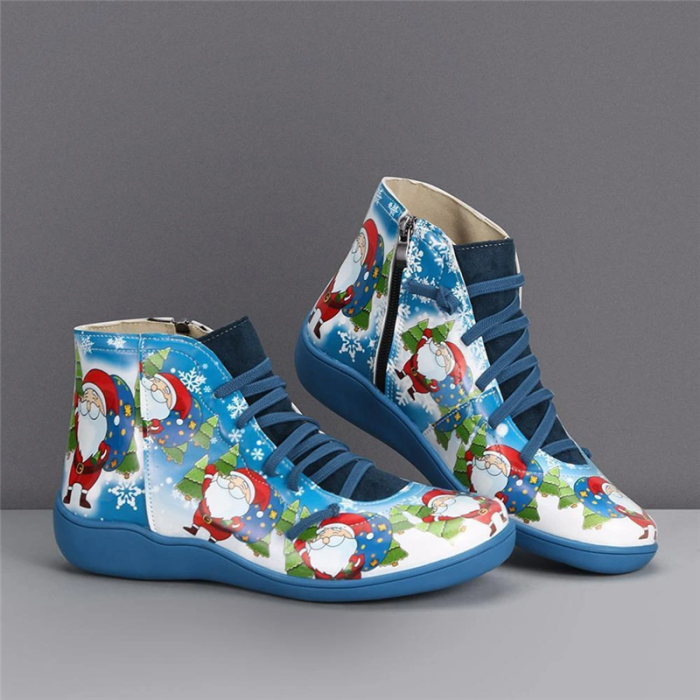 >>Christmas Gift   Print Flat Heel Lace Up Short Boots