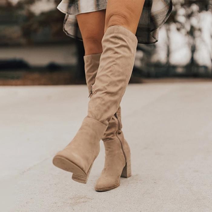 Women Knee-High Plus Size Flock High Heel Boot