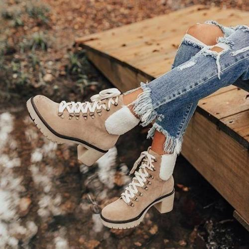 Platform Lightweight Ankle Lace-Up Boots