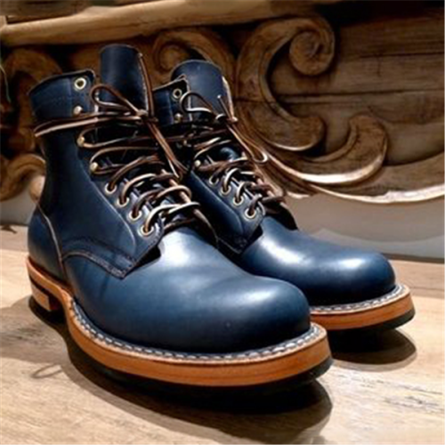 Men Handmade Navy Blue Lace Up Combat Boots Dress Boots