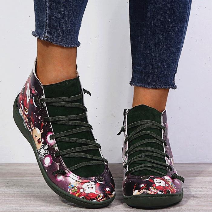 >>Christmas Gift    Santa Claus Print Lace Up Flat Heel Boots