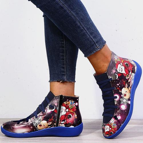 >>Christmas Gift |  Santa Claus Print Lace Up Flat Heel Boots