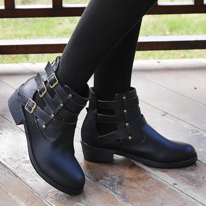 All Season Buckle Party & Evening Block Heel Boots