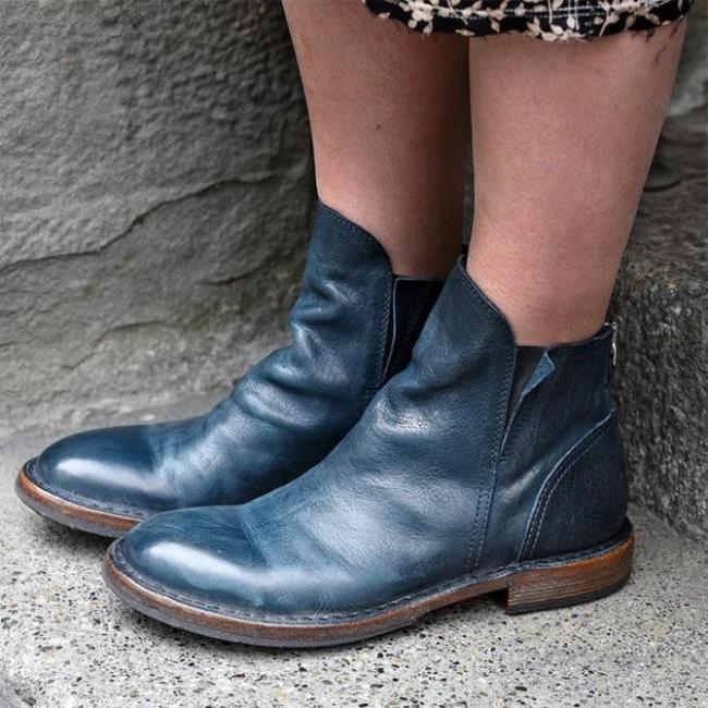 Low Heel Winter Zipper Boots