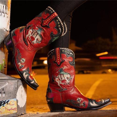 Women's Midnight Cowboy Namesake Character Low Heel Ankle Bootie