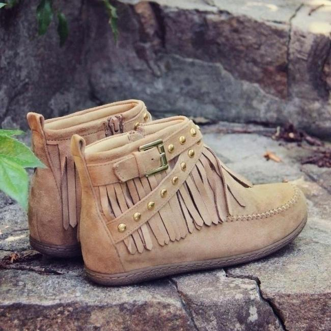Women's Tassel Rivet Flat Bottom Short Boots