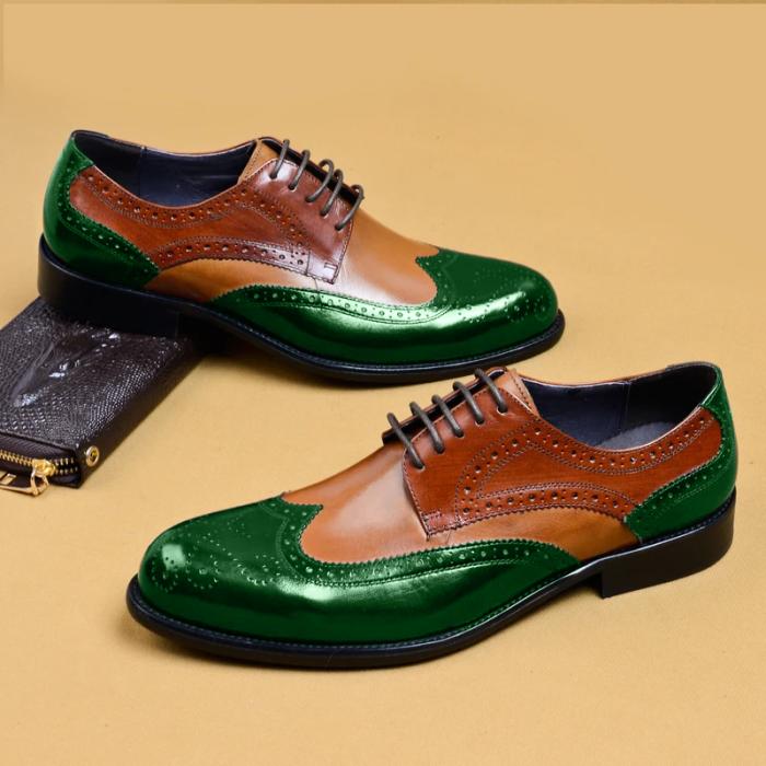 Plaid Lace-Up Pointed Toe Men's Dress Shoes
