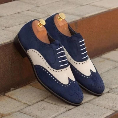 Men's Classic Colorblock Carved Leather Shoes
