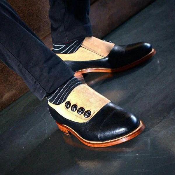 Men's Suede Leather Button Stylish Shoes