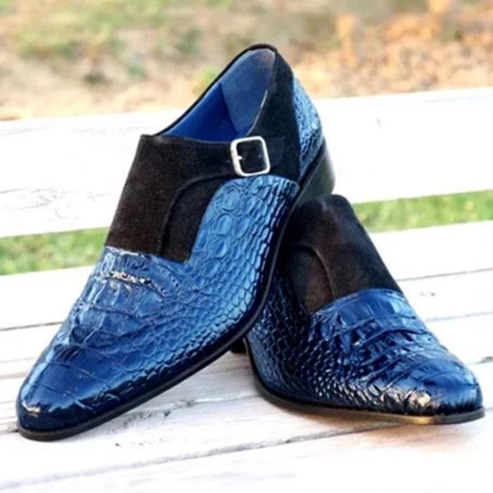 Handmade Crocodile Pattern Luxury Strap Shoes