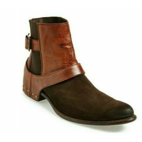 Chelsea Brown Suede and Leather Boots