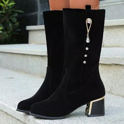 Women's Zipper Mid-Calf Boots Round Toe Heels Nubuck Chunky Heel Boots