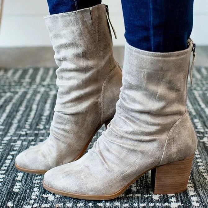 Block Heel Zipper Boots