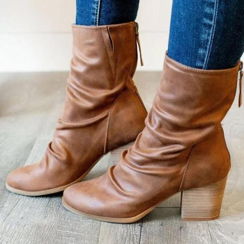 Block Heel Zipper Boots