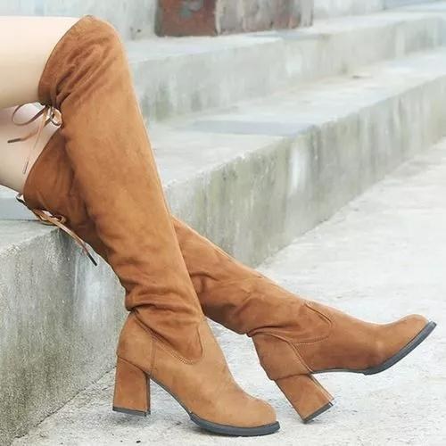 Women's Lace-up Knee High Boots Closed Toe Cloth Chunky Heel Boots