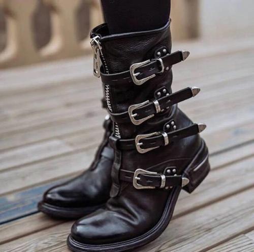 Women's Stylish Buckle Zipper Low Heel Mid-calf Boots