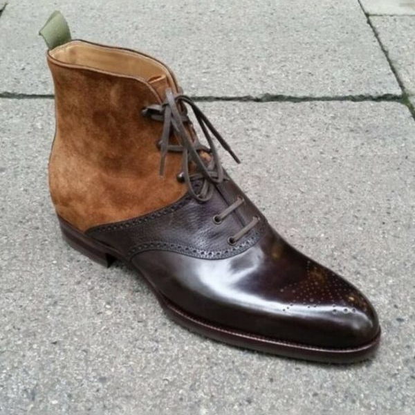 New Handmade Pure Beige Suede & Brown Leather Ankle Boots for Men's