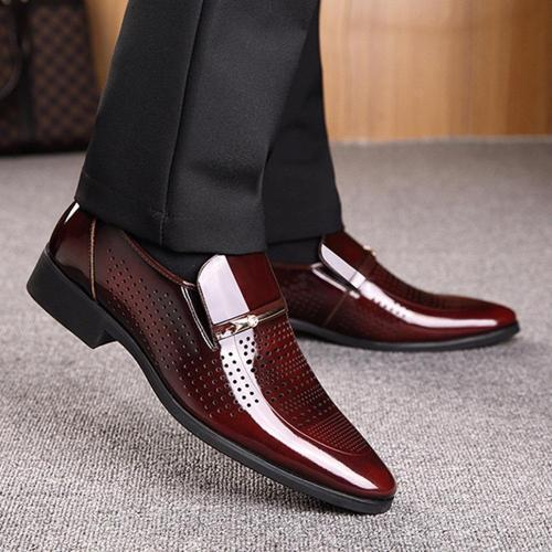 Men Microfiber Leather Hole Breathable Casual Formal Dress Shoes